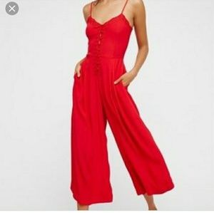 Free People red jumpsuit s S